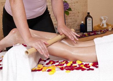 leg massage with bamboo