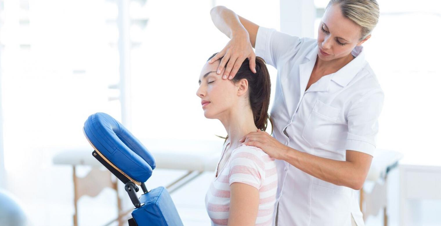 woman getting neck massage
